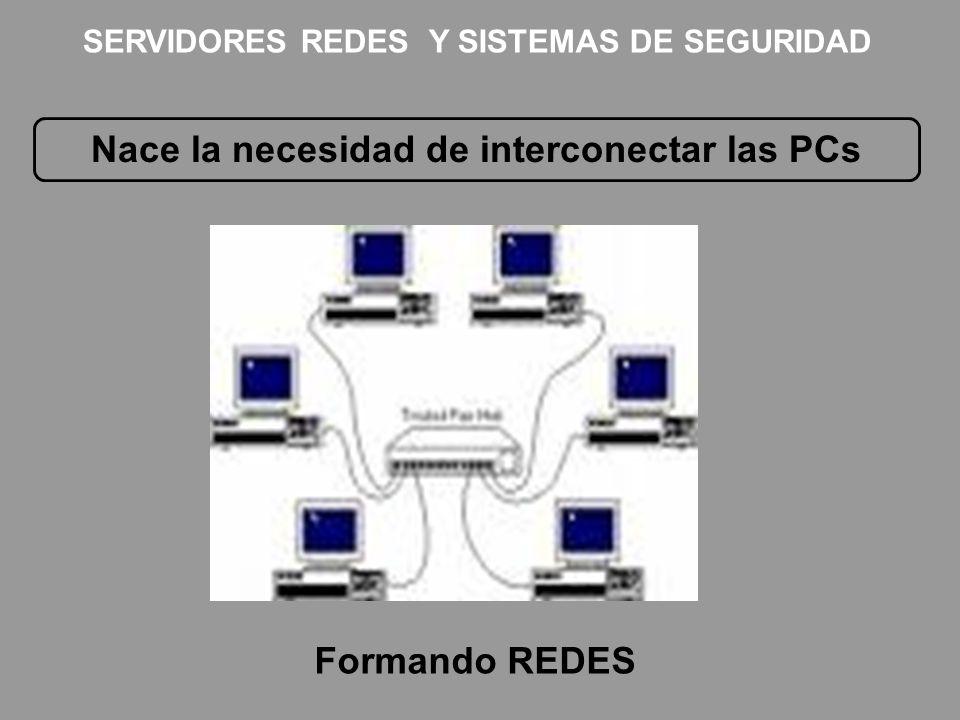 Nace la necesidad de interconectar las PCs Formando REDES SERVIDORES REDES Y SISTEMAS DE SEGURIDAD