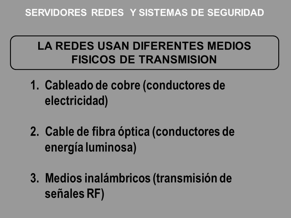 LA REDES USAN DIFERENTES MEDIOS FISICOS DE TRANSMISION 1.Cableado de cobre (conductores de electricidad) 2. Cable de fibra óptica (conductores de ener