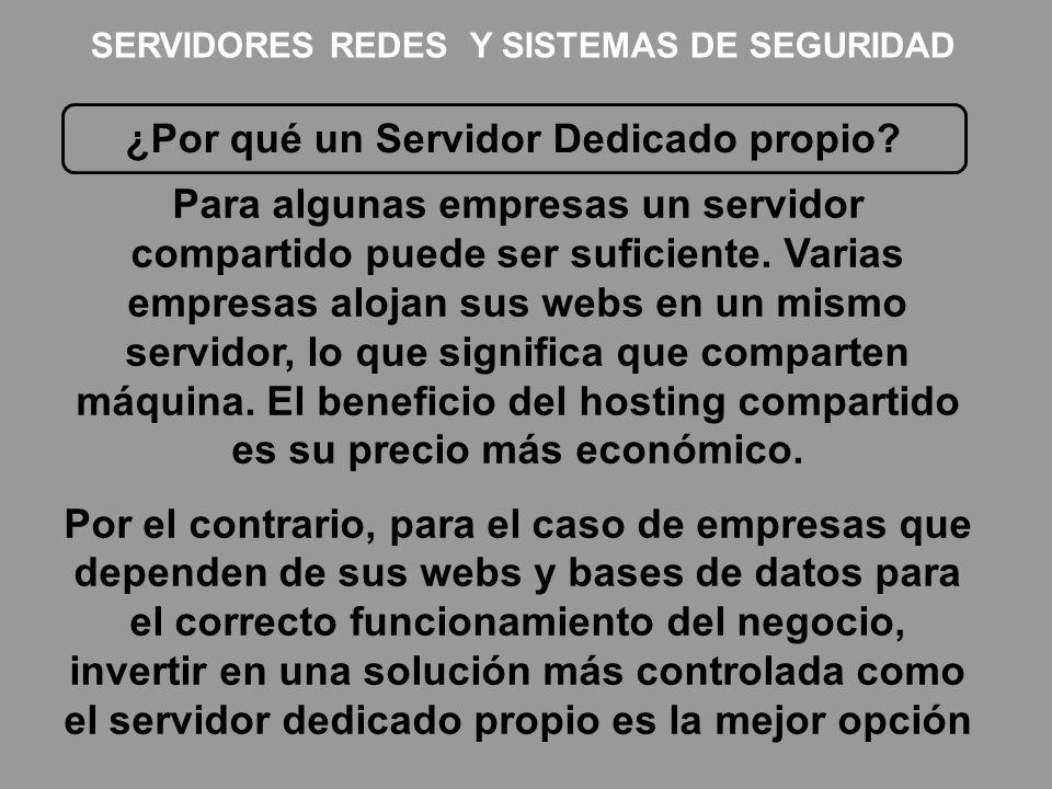 ¿Por qué un Servidor Dedicado propio? Para algunas empresas un servidor compartido puede ser suficiente. Varias empresas alojan sus webs en un mismo s