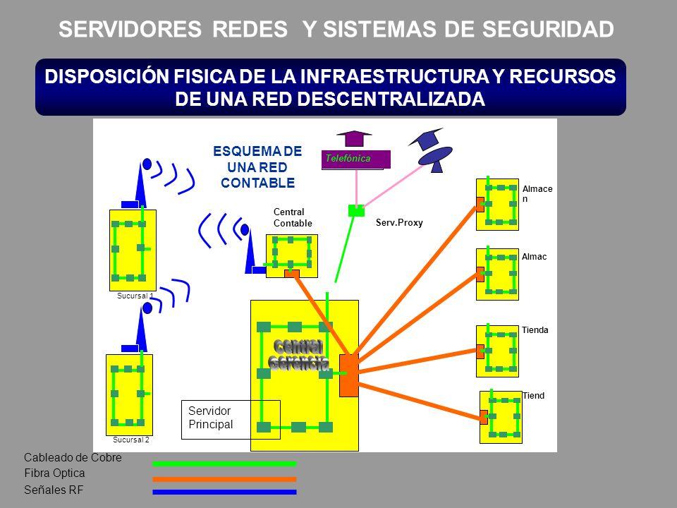 DISPOSICIÓN FISICA DE LA INFRAESTRUCTURA Y RECURSOS DE UNA RED DESCENTRALIZADA Sucursal 1 Sucursal 2 Almace n Almac Tienda Tiend Telefónica Central Co