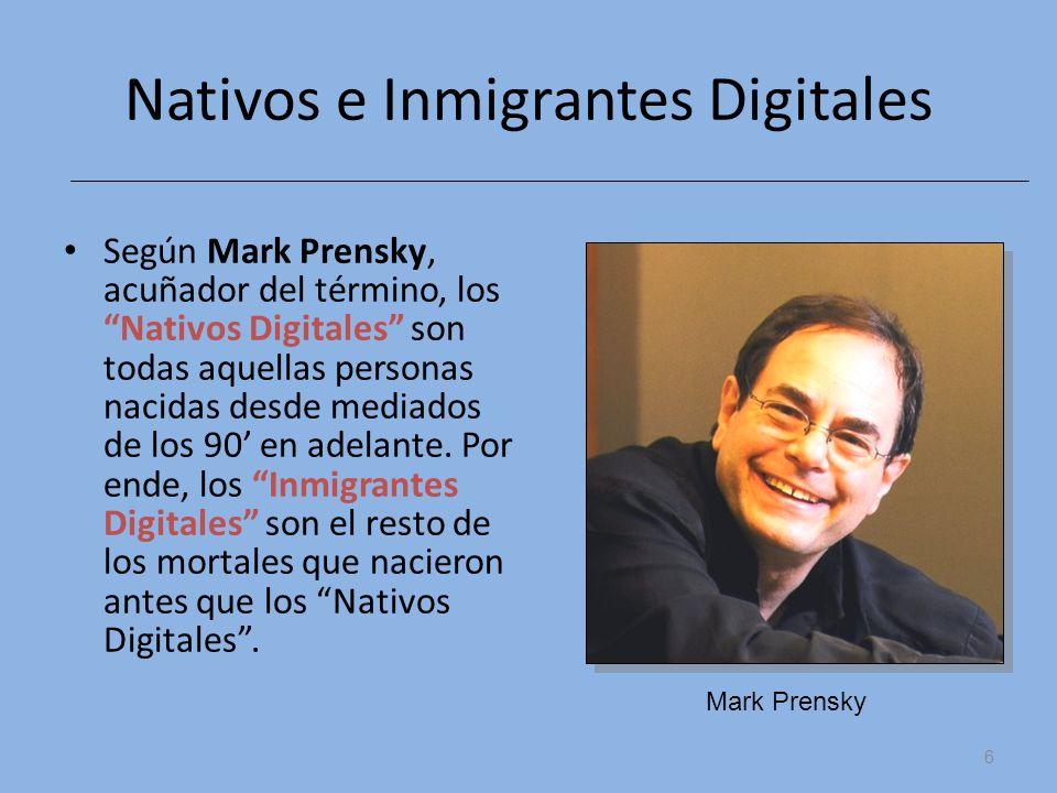 Nativos e Inmigrantes Digitales Según Mark Prensky, acuñador del término, los Nativos Digitales son todas aquellas personas nacidas desde mediados de