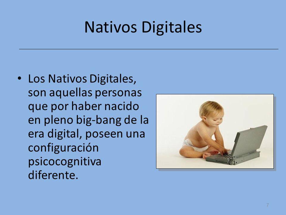 Nativos Digitales Los Nativos Digitales, son aquellas personas que por haber nacido en pleno big-bang de la era digital, poseen una configuración psic