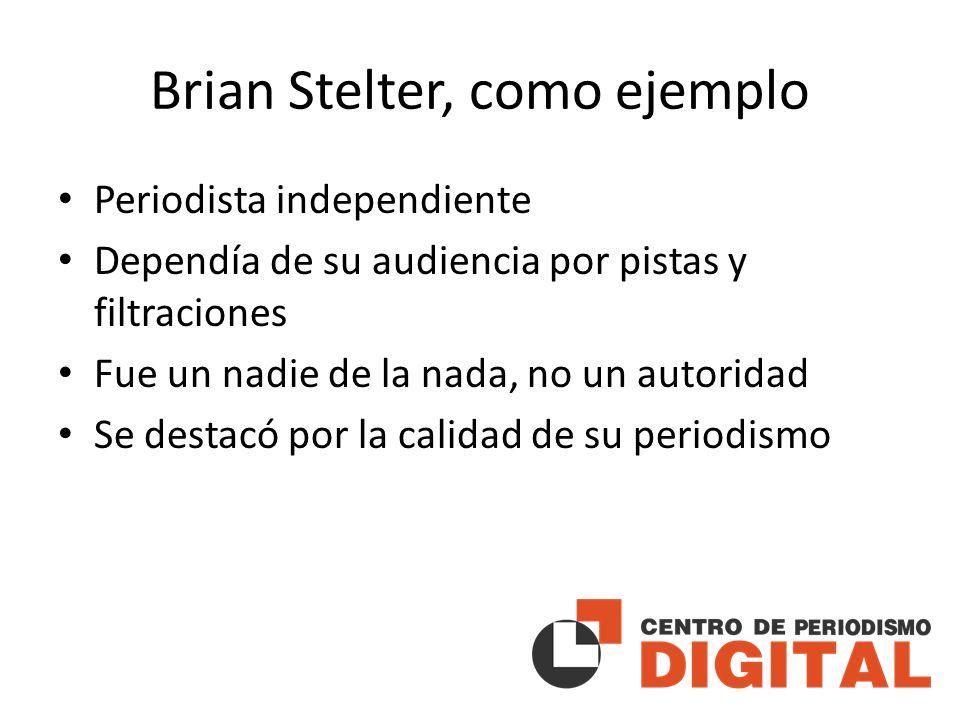 Brian Stelter, como ejemplo Periodista independiente Dependía de su audiencia por pistas y filtraciones Fue un nadie de la nada, no un autoridad Se destacó por la calidad de su periodismo