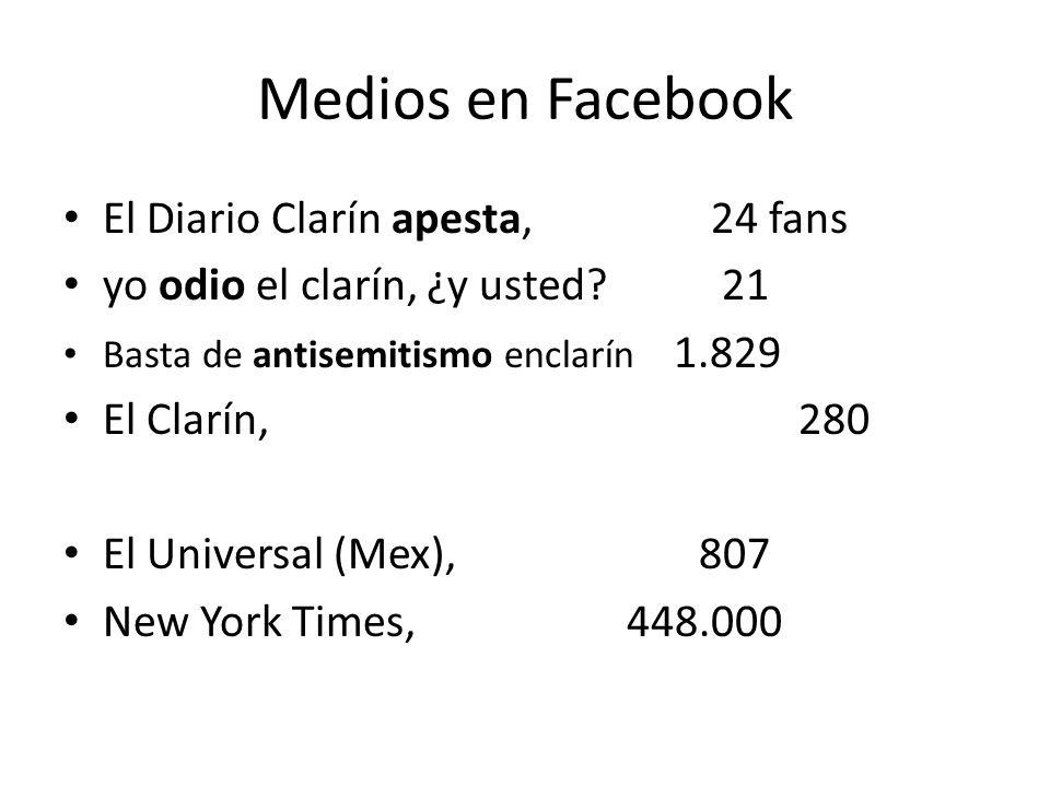 Medios en Facebook El Diario Clarín apesta, 24 fans yo odio el clarín, ¿y usted.