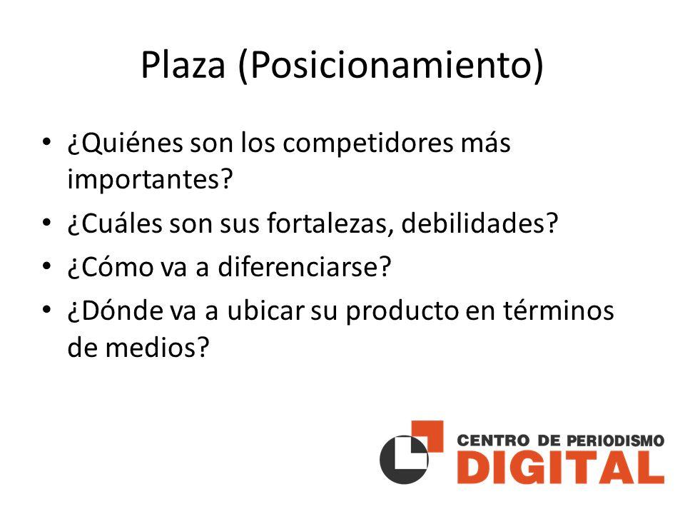 Plaza (Posicionamiento) ¿Quiénes son los competidores más importantes.