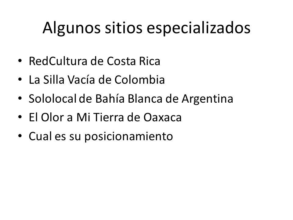 Algunos sitios especializados RedCultura de Costa Rica La Silla Vacía de Colombia Sololocal de Bahía Blanca de Argentina El Olor a Mi Tierra de Oaxaca Cual es su posicionamiento