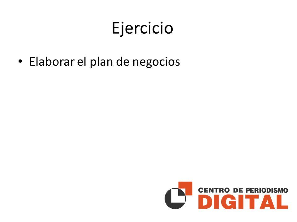 Ejercicio Elaborar el plan de negocios