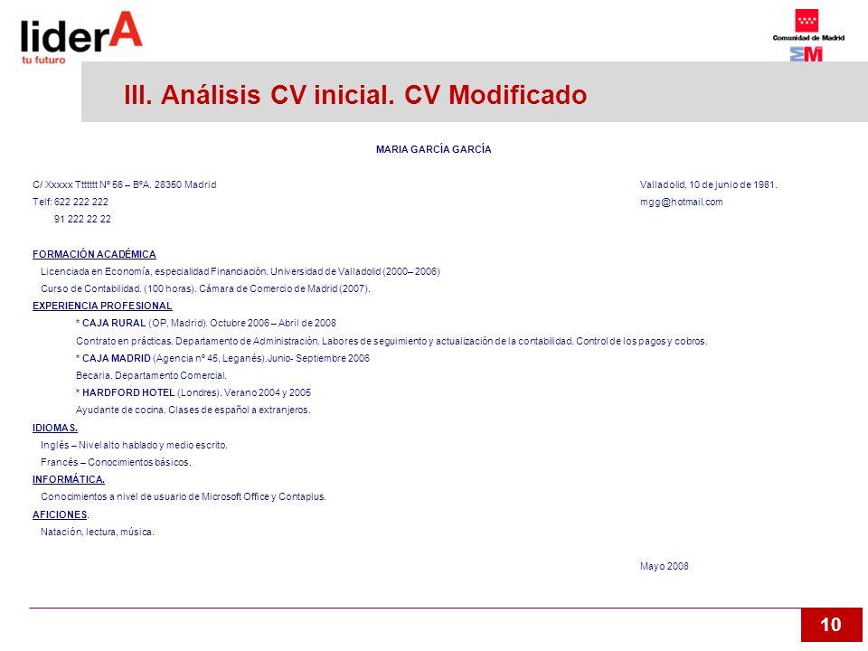 10 III. Análisis CV inicial. CV Modificado MARIA GARCÍA GARCÍA C/ Xxxxx Ttttttt Nº 56 – BºA. 28350 Madrid Valladolid, 10 de junio de 1981. Telf: 622 2