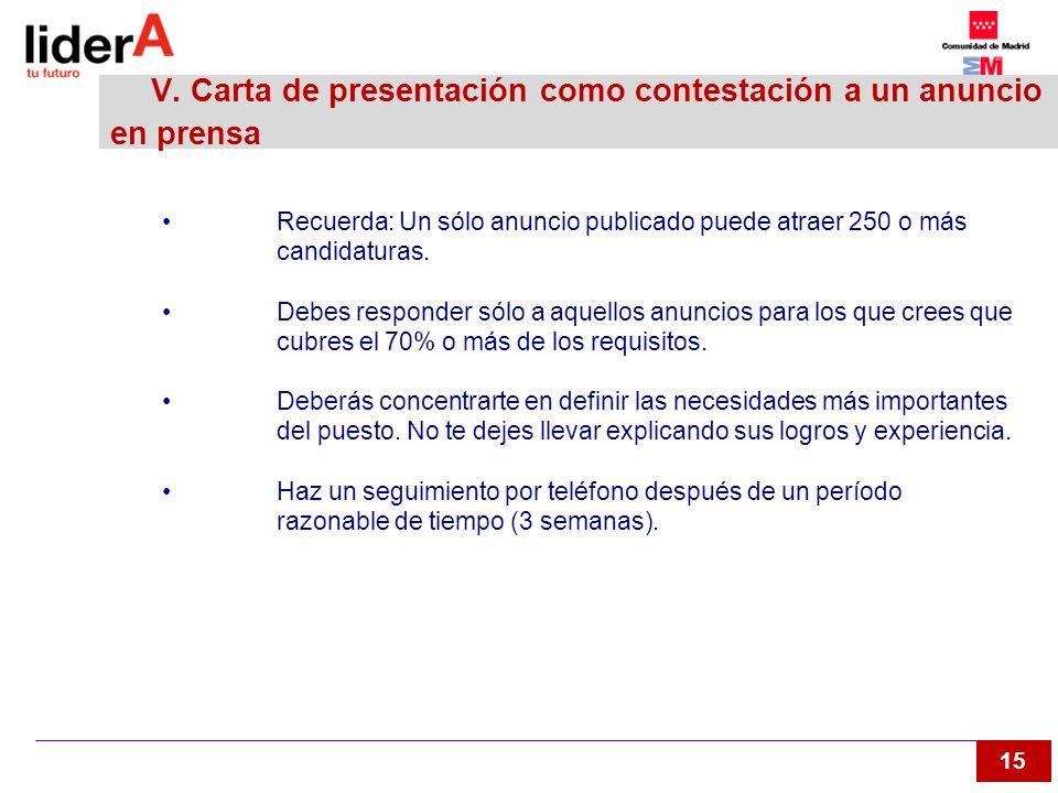 15 V. Carta de presentación como contestación a un anuncio en prensa Recuerda: Un sólo anuncio publicado puede atraer 250 o más candidaturas. Debes re