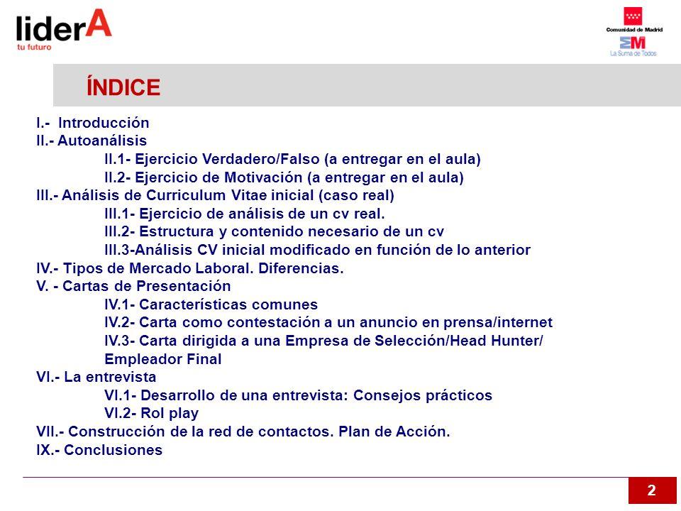2 ÍNDICE I.- Introducción II.- Autoanálisis II.1- Ejercicio Verdadero/Falso (a entregar en el aula) II.2- Ejercicio de Motivación (a entregar en el au