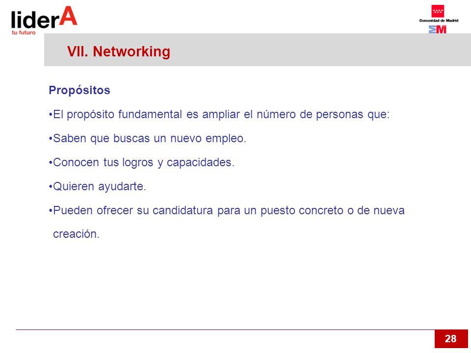 28 VII. Networking Propósitos El propósito fundamental es ampliar el número de personas que: Saben que buscas un nuevo empleo. Conocen tus logros y ca
