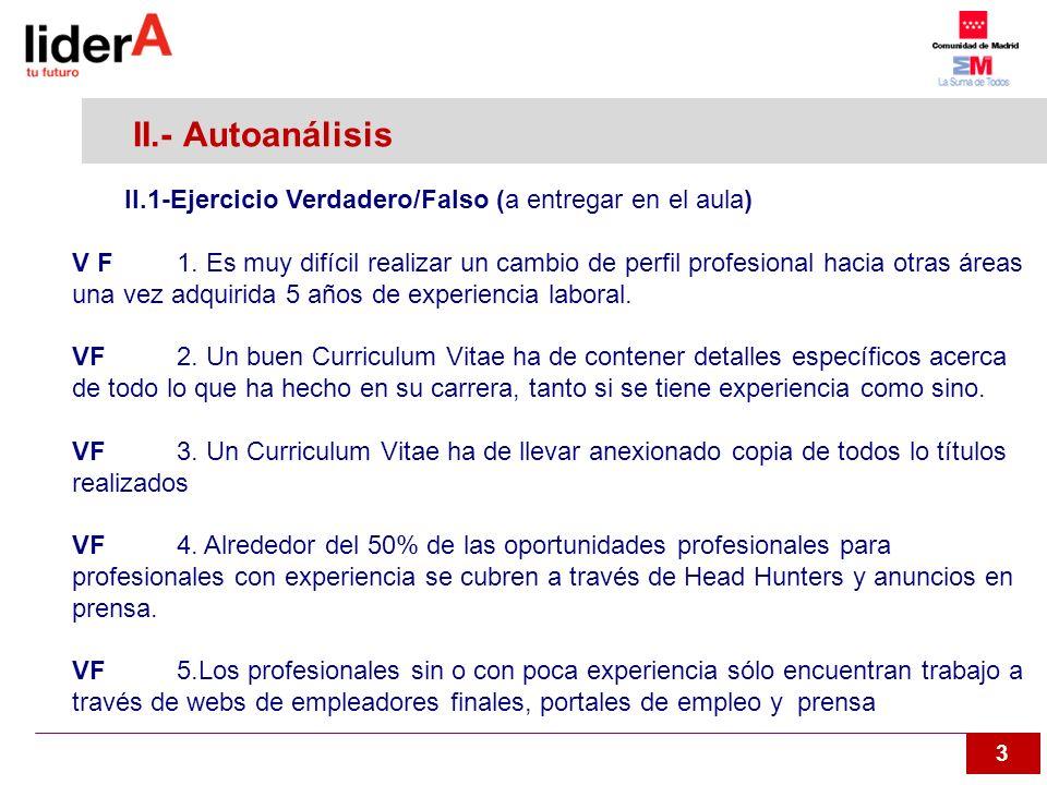 3 II.- Autoanálisis II.1-Ejercicio Verdadero/Falso (a entregar en el aula) V F1. Es muy difícil realizar un cambio de perfil profesional hacia otras á