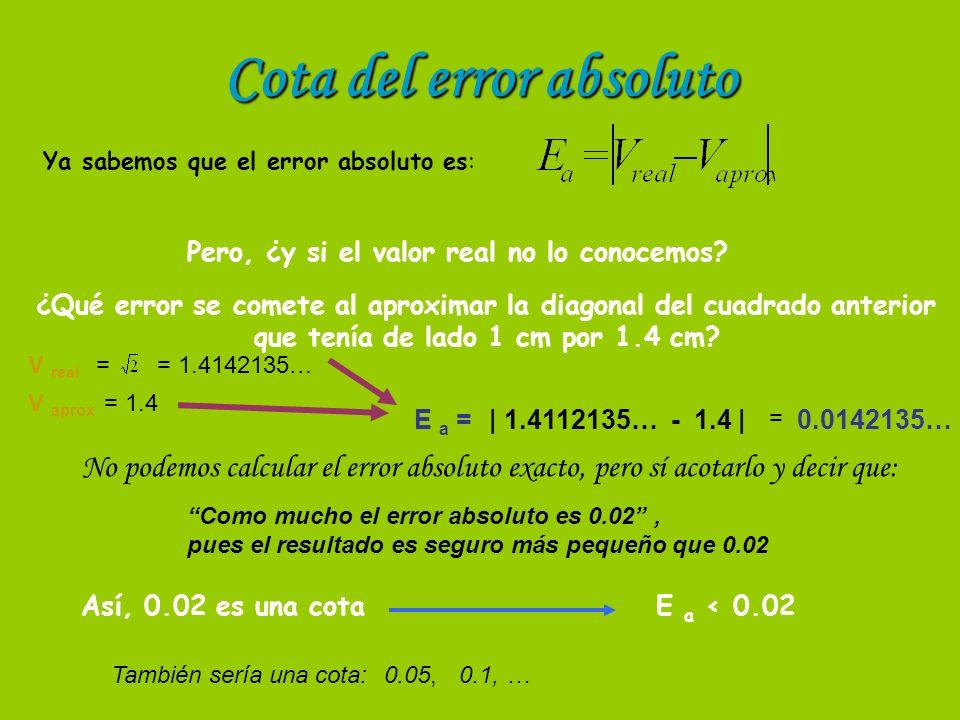 Cota del error absoluto Ya sabemos que el error absoluto es: Pero, ¿y si el valor real no lo conocemos.