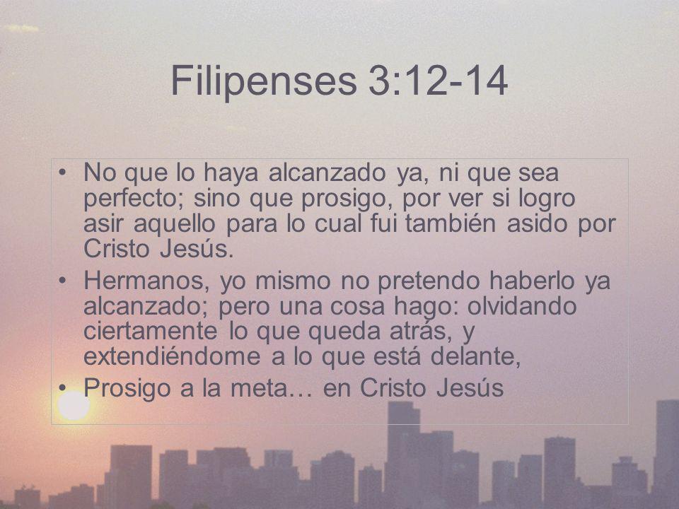 Filipenses 3:12-14 No que lo haya alcanzado ya, ni que sea perfecto; sino que prosigo, por ver si logro asir aquello para lo cual fui también asido po