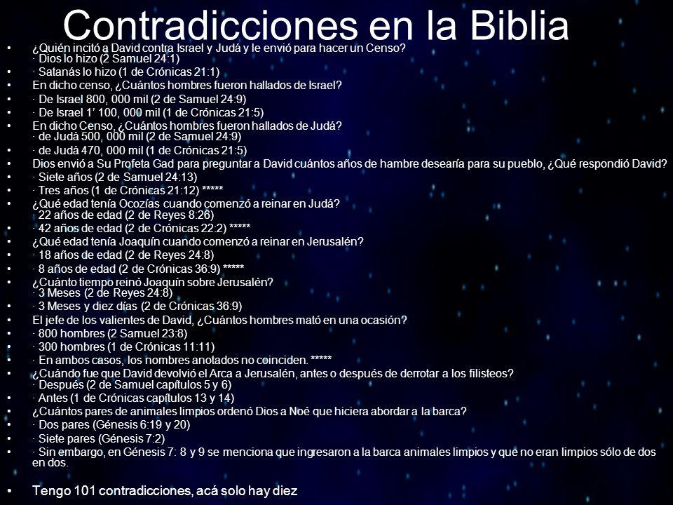 Contradicciones en la Biblia ¿Quién incitó a David contra Israel y Judá y le envió para hacer un Censo? · Dios lo hizo (2 Samuel 24:1) · Satanás lo hi