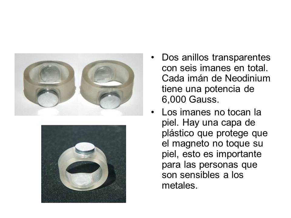 Dos anillos transparentes con seis imanes en total. Cada imán de Neodinium tiene una potencia de 6,000 Gauss. Los imanes no tocan la piel. Hay una cap