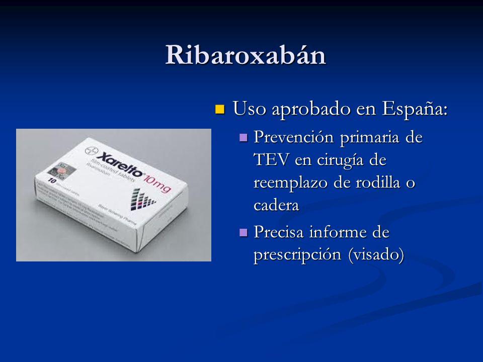 Ribaroxabán Uso aprobado en España: Uso aprobado en España: Prevención primaria de TEV en cirugía de reemplazo de rodilla o cadera Prevención primaria