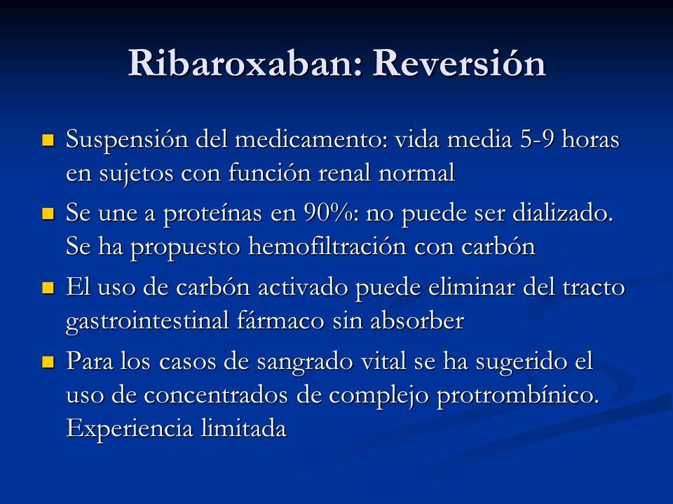 Ribaroxaban: Reversión Suspensión del medicamento: vida media 5-9 horas en sujetos con función renal normal Suspensión del medicamento: vida media 5-9