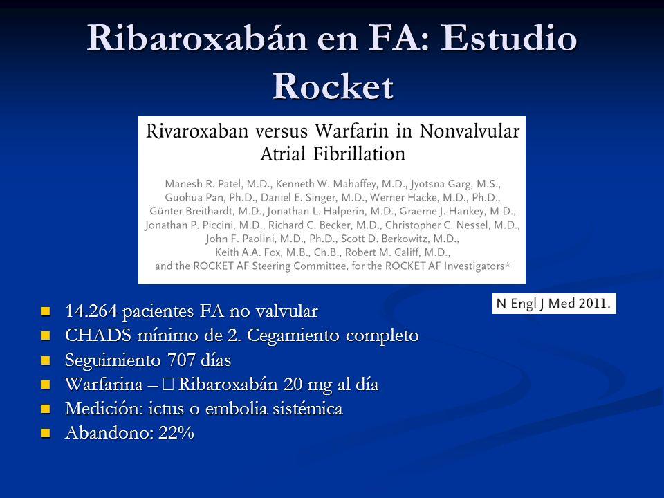 Ribaroxabán en FA: Estudio Rocket 14.264 pacientes FA no valvular 14.264 pacientes FA no valvular CHADS mínimo de 2. Cegamiento completo CHADS mínimo