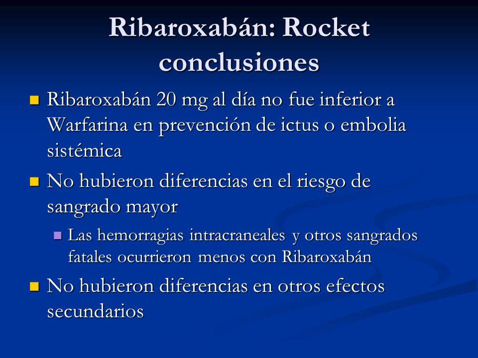 Ribaroxabán: Rocket conclusiones Ribaroxabán 20 mg al día no fue inferior a Warfarina en prevención de ictus o embolia sistémica Ribaroxabán 20 mg al