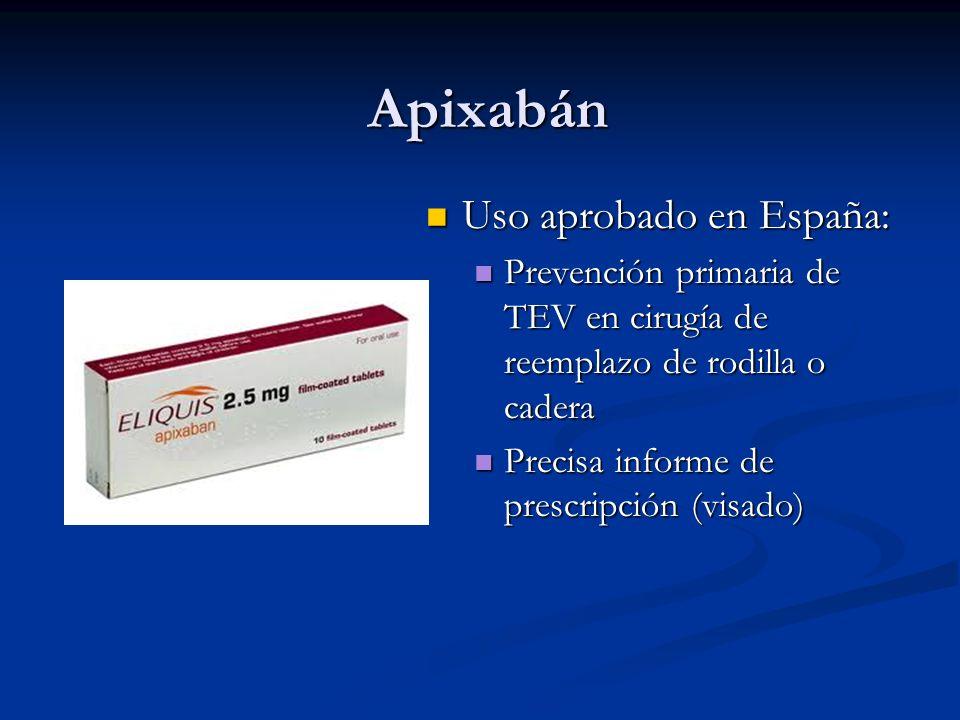 Apixabán Uso aprobado en España: Uso aprobado en España: Prevención primaria de TEV en cirugía de reemplazo de rodilla o cadera Prevención primaria de