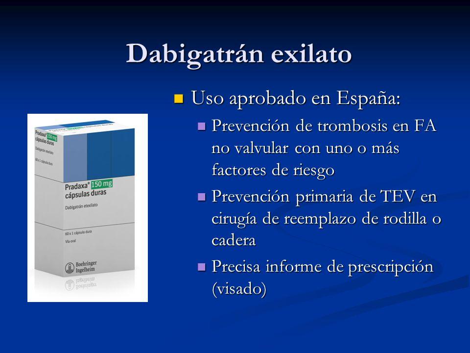 Dabigatrán exilato Uso aprobado en España: Uso aprobado en España: Prevención de trombosis en FA no valvular con uno o más factores de riesgo Prevenci