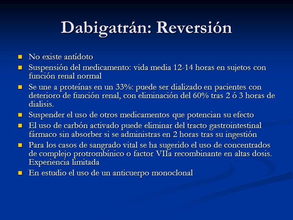 Dabigatrán: Reversión No existe antídoto No existe antídoto Suspensión del medicamento: vida media 12-14 horas en sujetos con función renal normal Sus
