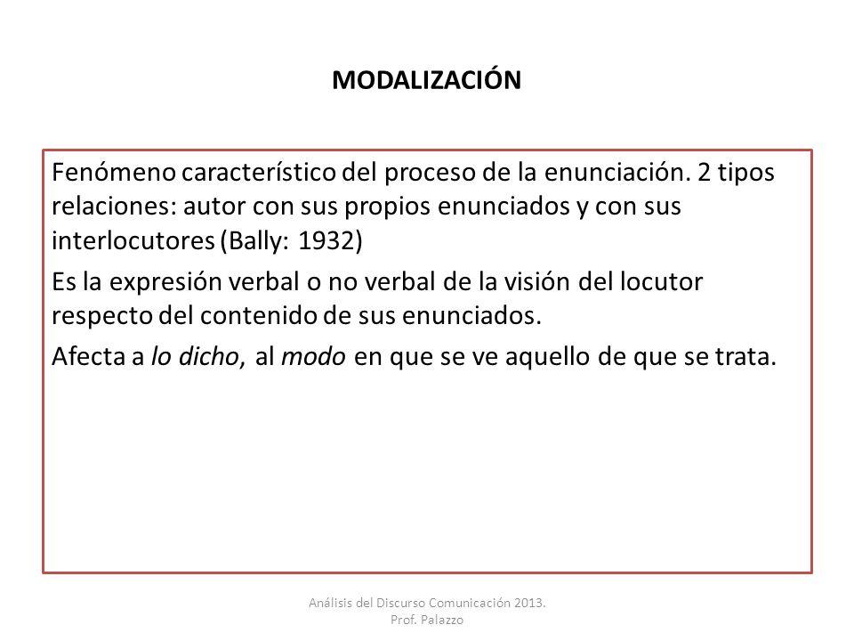 MODALIZACIÓN Fenómeno característico del proceso de la enunciación. 2 tipos relaciones: autor con sus propios enunciados y con sus interlocutores (Bal