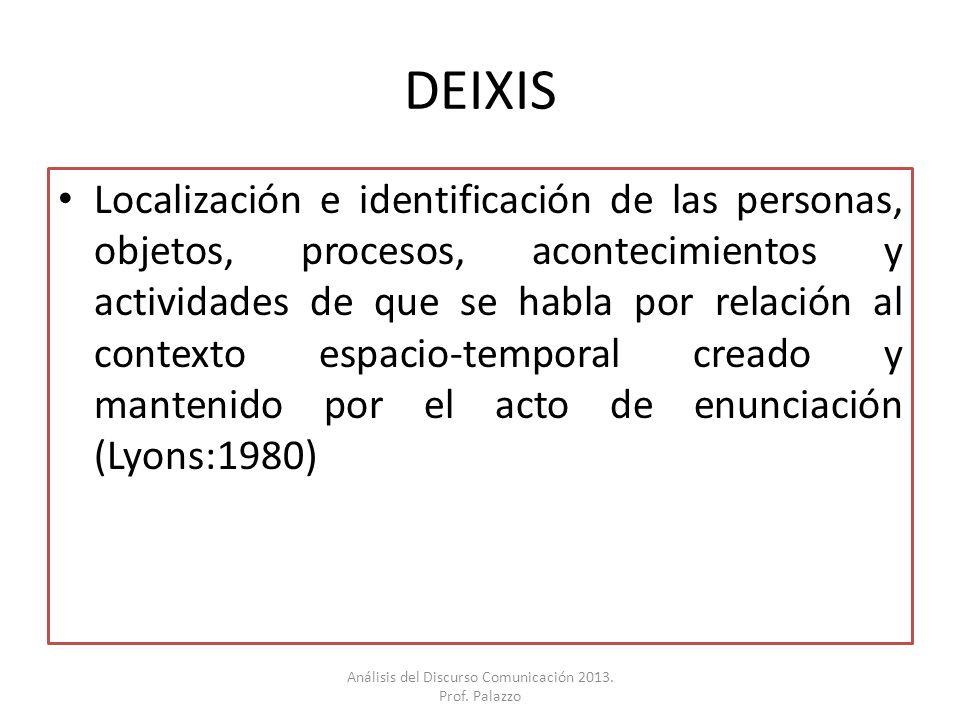 DEIXIS Localización e identificación de las personas, objetos, procesos, acontecimientos y actividades de que se habla por relación al contexto espaci