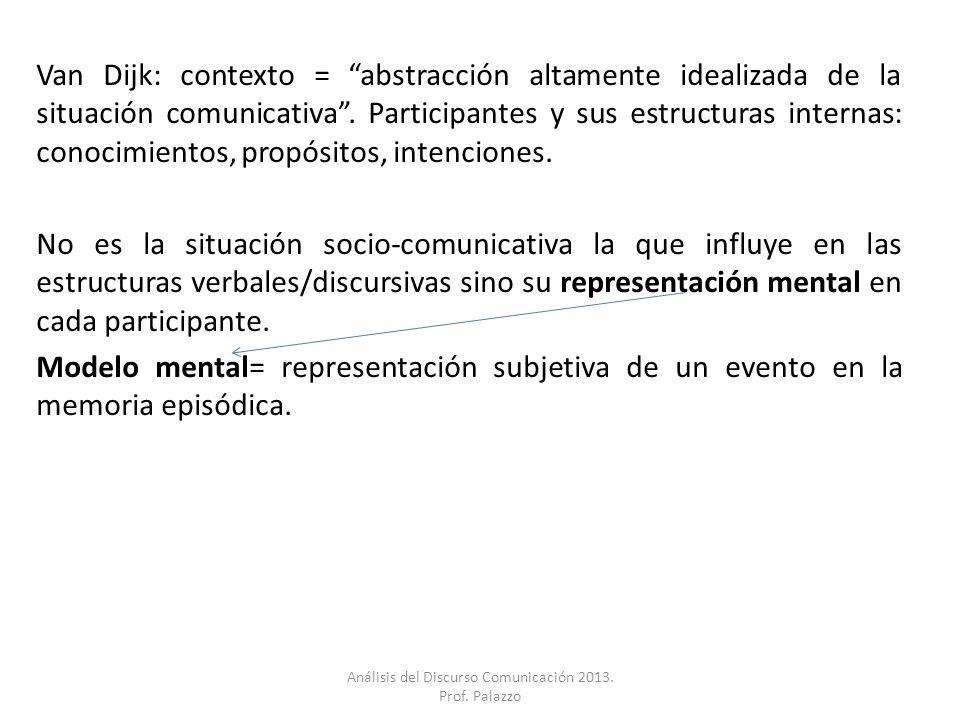 Van Dijk: contexto = abstracción altamente idealizada de la situación comunicativa. Participantes y sus estructuras internas: conocimientos, propósito