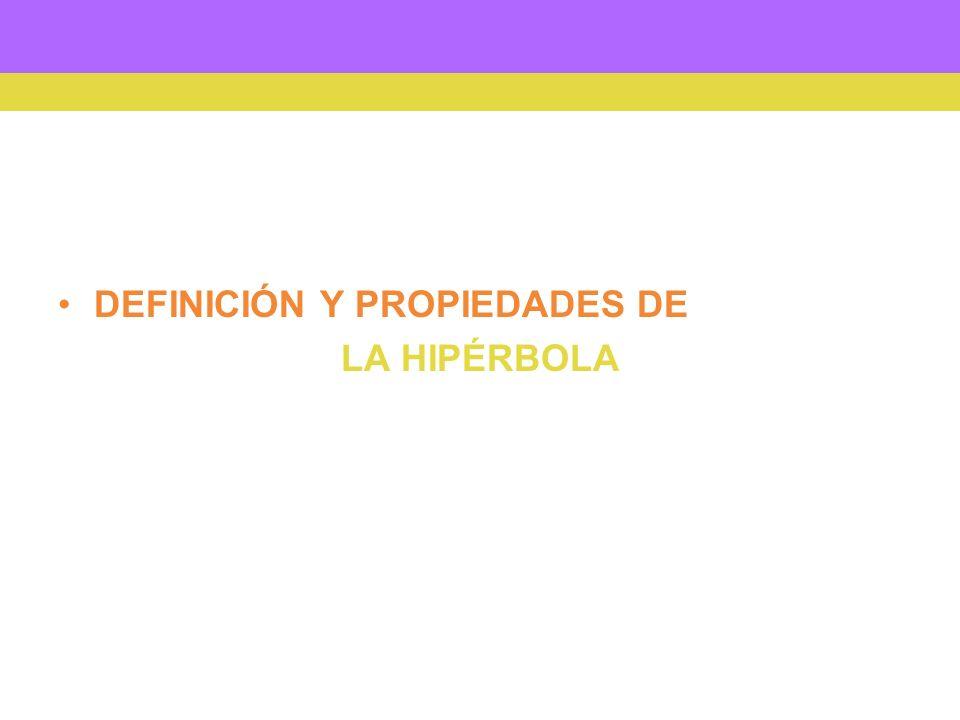 DEFINICIÓN Y PROPIEDADES DE LA HIPÉRBOLA