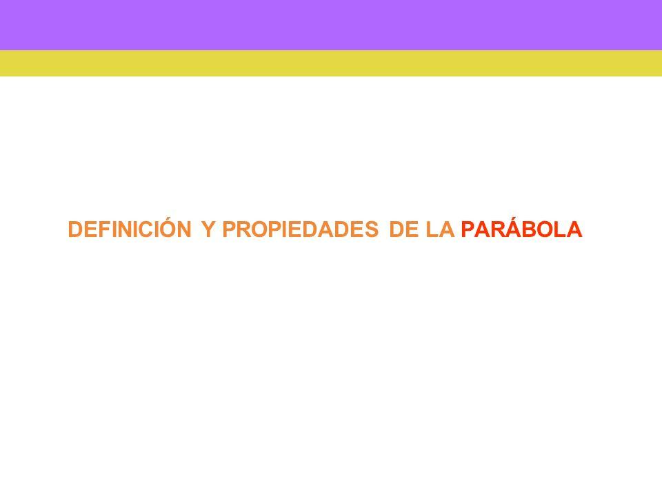 DEFINICIÓN Y PROPIEDADES DE LA PARÁBOLA