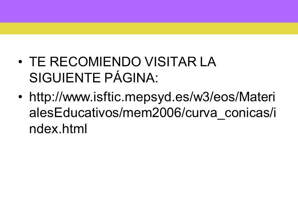 TE RECOMIENDO VISITAR LA SIGUIENTE PÁGINA: http://www.isftic.mepsyd.es/w3/eos/Materi alesEducativos/mem2006/curva_conicas/i ndex.html