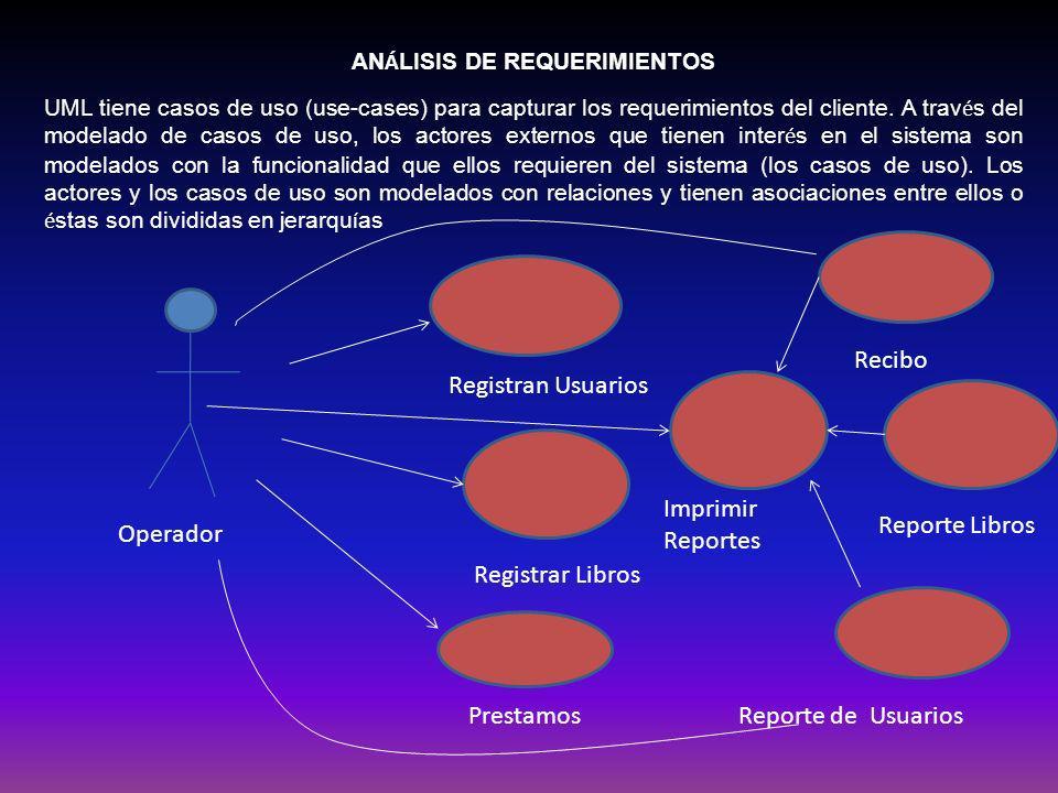 AN Á LISIS DE REQUERIMIENTOS UML tiene casos de uso (use-cases) para capturar los requerimientos del cliente. A trav é s del modelado de casos de uso,