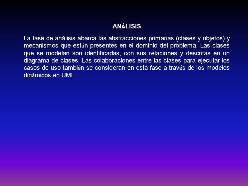 AN Á LISIS La fase de análisis abarca las abstracciones primarias (clases y objetos) y mecanismos que est á n presentes en el dominio del problema. La