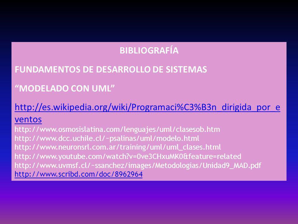 BIBLIOGRAFÍA FUNDAMENTOS DE DESARROLLO DE SISTEMAS MODELADO CON UML http://es.wikipedia.org/wiki/Programaci%C3%B3n_dirigida_por_e ventos http://www.os