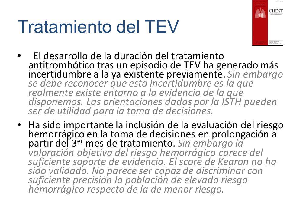 Tratamiento del TEV El desarrollo de la duración del tratamiento antitrombótico tras un episodio de TEV ha generado más incertidumbre a la ya existent