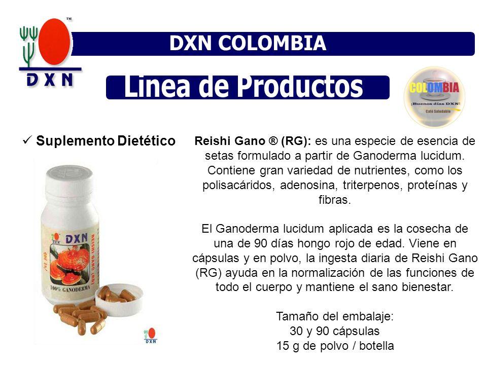 Suplemento Dietético Reishi Gano ® (RG): es una especie de esencia de setas formulado a partir de Ganoderma lucidum. Contiene gran variedad de nutrien