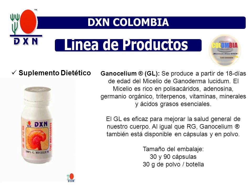 Suplemento Dietético Ganocelium ® (GL): Se produce a partir de 18-días de edad del Micelio de Ganoderma lucidum. El Micelio es rico en polisacáridos,