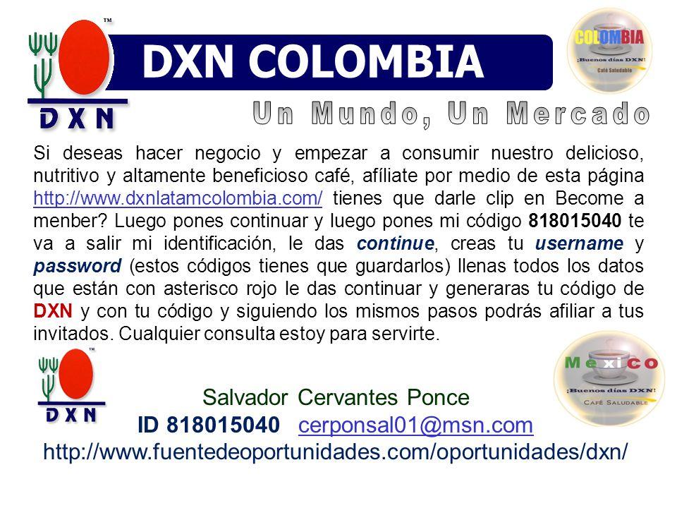 Si deseas hacer negocio y empezar a consumir nuestro delicioso, nutritivo y altamente beneficioso café, afíliate por medio de esta página http://www.dxnlatamcolombia.com/ tienes que darle clip en Become a menber.