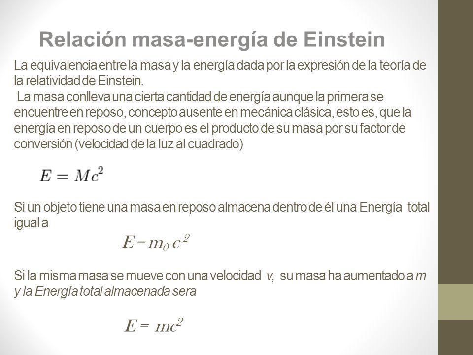 La equivalencia entre la masa y la energía dada por la expresión de la teoría de la relatividad de Einstein.
