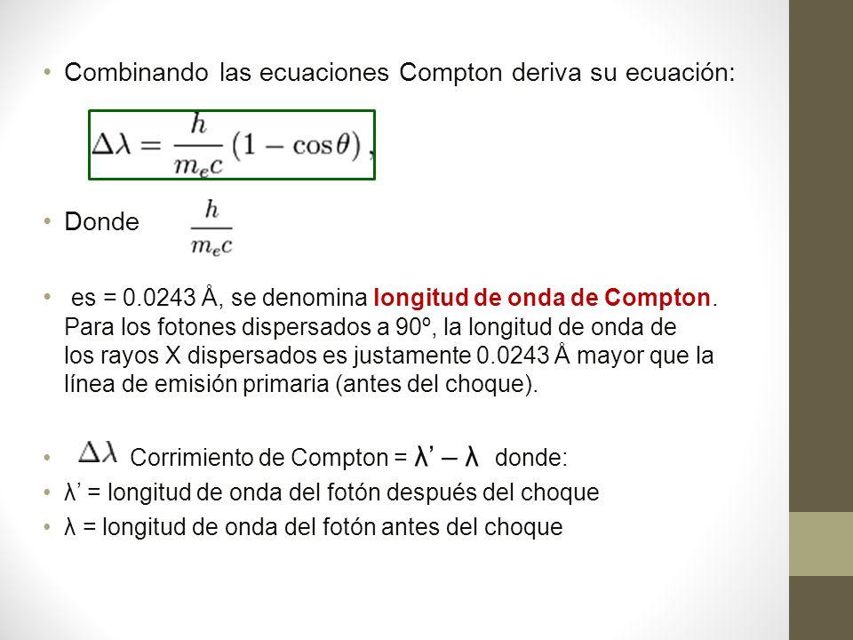 Combinando las ecuaciones Compton deriva su ecuación: Donde es = 0.0243 Å, se denomina longitud de onda de Compton.