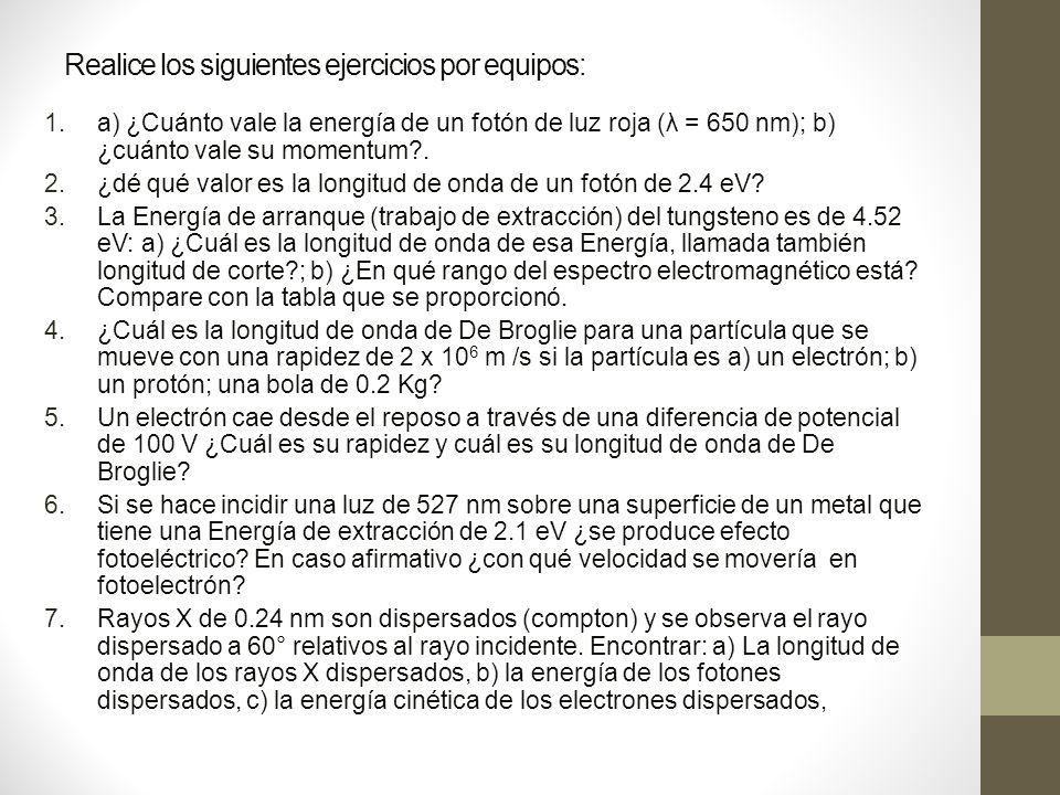 Realice los siguientes ejercicios por equipos: 1.a) ¿Cuánto vale la energía de un fotón de luz roja (λ = 650 nm); b) ¿cuánto vale su momentum?.