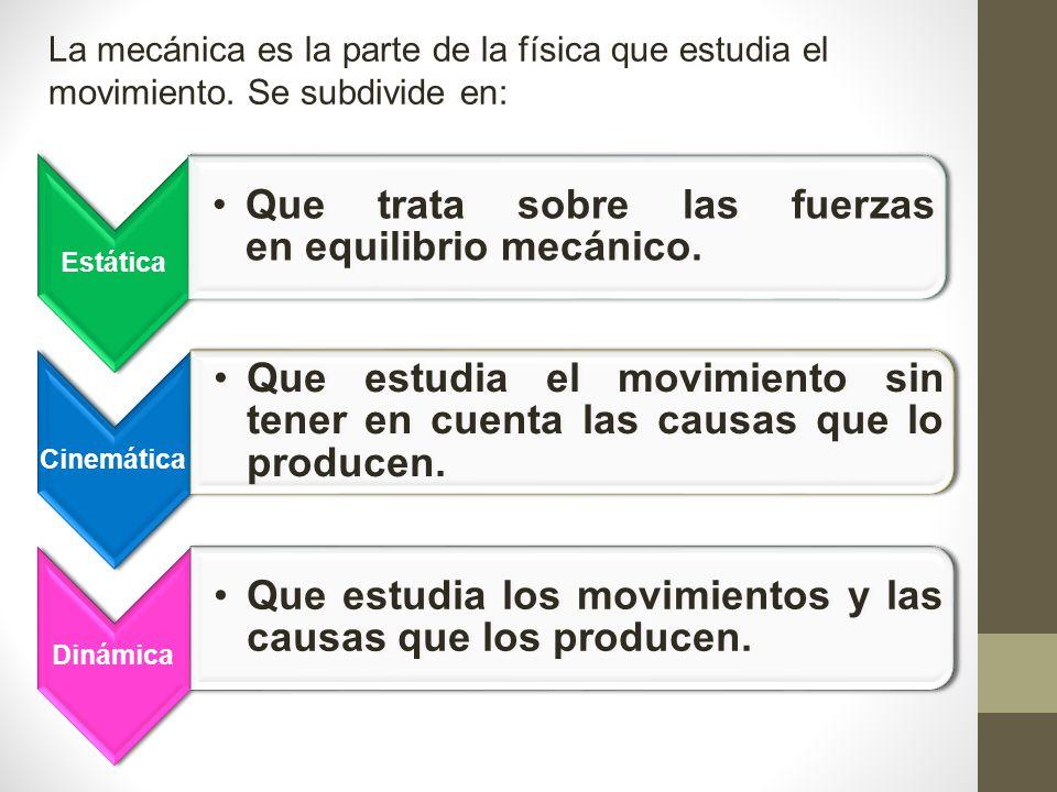 La mecánica es la parte de la física que estudia el movimiento.