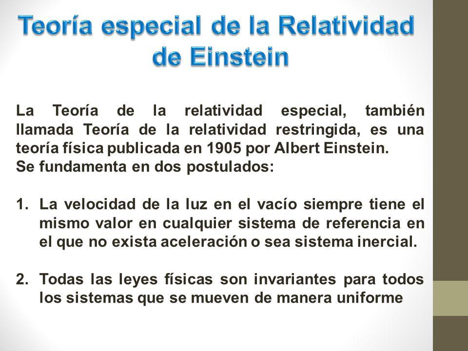 La Teoría de la relatividad especial, también llamada Teoría de la relatividad restringida, es una teoría física publicada en 1905 por Albert Einstein.