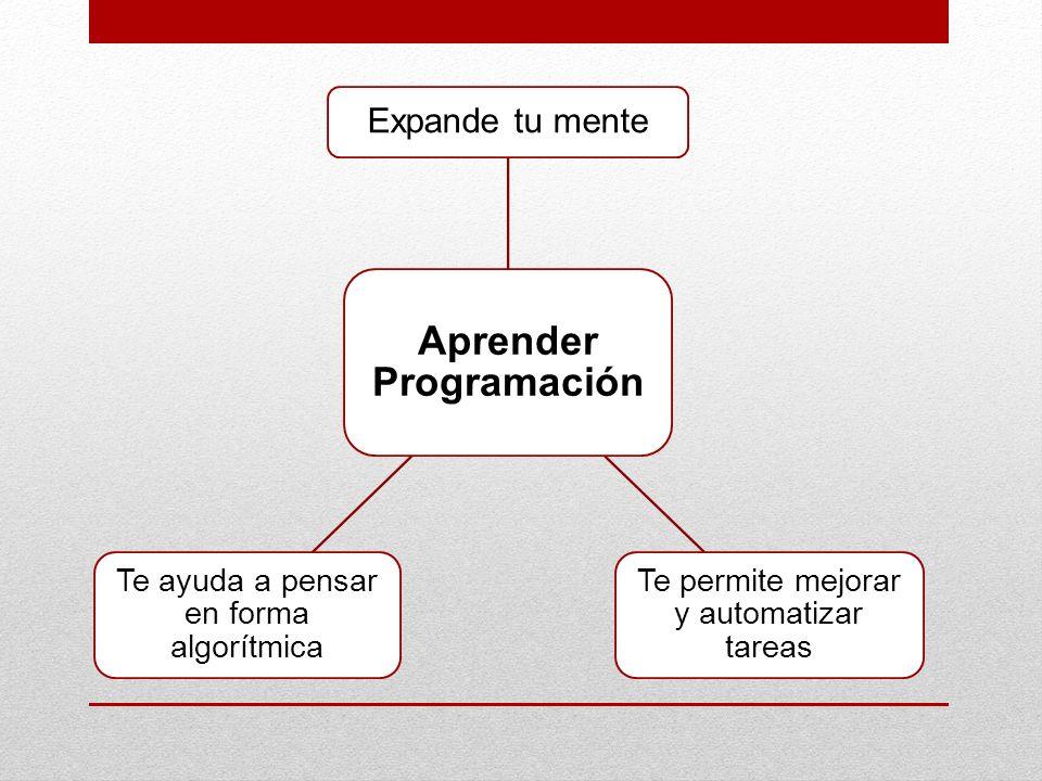 Aprender Programación Expande tu mente Te permite mejorar y automatizar tareas Te ayuda a pensar en forma algorítmica