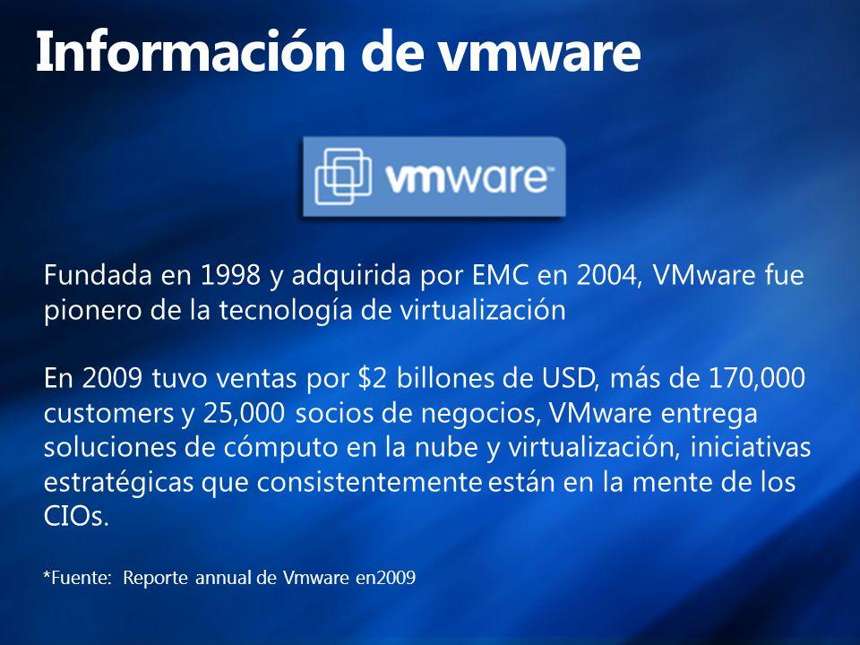 Fundada en 1998 y adquirida por EMC en 2004, VMware fue pionero de la tecnología de virtualización En 2009 tuvo ventas por $2 billones de USD, más de 170,000 customers y 25,000 socios de negocios, VMware entrega soluciones de cómputo en la nube y virtualización, iniciativas estratégicas que consistentemente están en la mente de los CIOs.