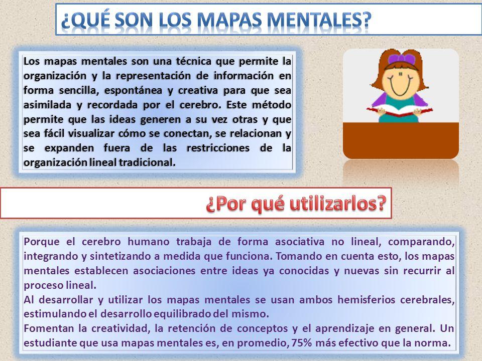 Los mapas mentales son una técnica que permite la organización y la representación de información en forma sencilla, espontánea y creativa para que se