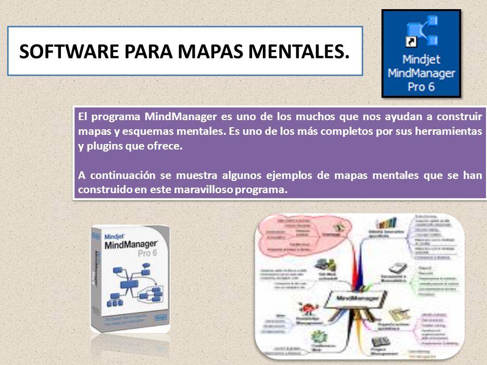 SOFTWARE PARA MAPAS MENTALES. El programa MindManager es uno de los muchos que nos ayudan a construir mapas y esquemas mentales. Es uno de los más com
