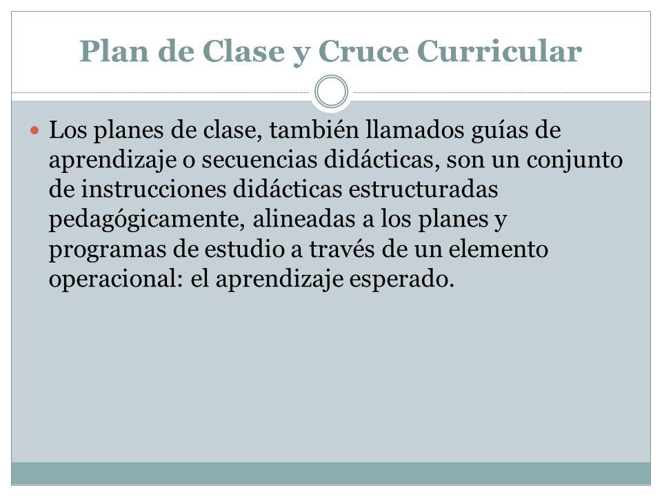 Plan de Clase y Cruce Curricular Los planes de clase, también llamados guías de aprendizaje o secuencias didácticas, son un conjunto de instrucciones
